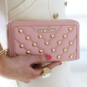 Love moschino heart studded pink wallet